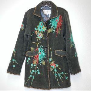 Paparazzi Fully Embroidered Coat Jacket Olive L